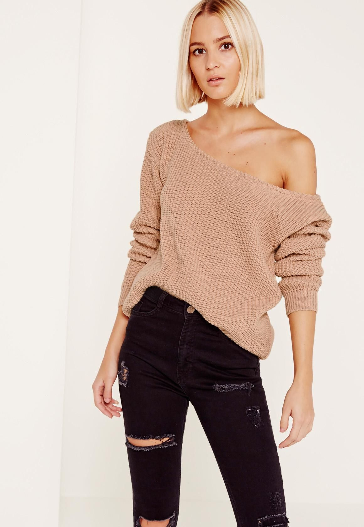 1a9efca5779 Missguided - Pink Ophelita Off Shoulder Knitted Sweater   Hairz ...