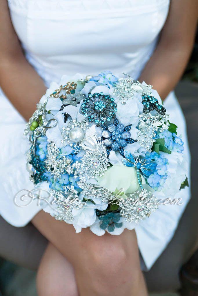 Something Blue In 2020 Teal Wedding Flowers Wedding Brooch