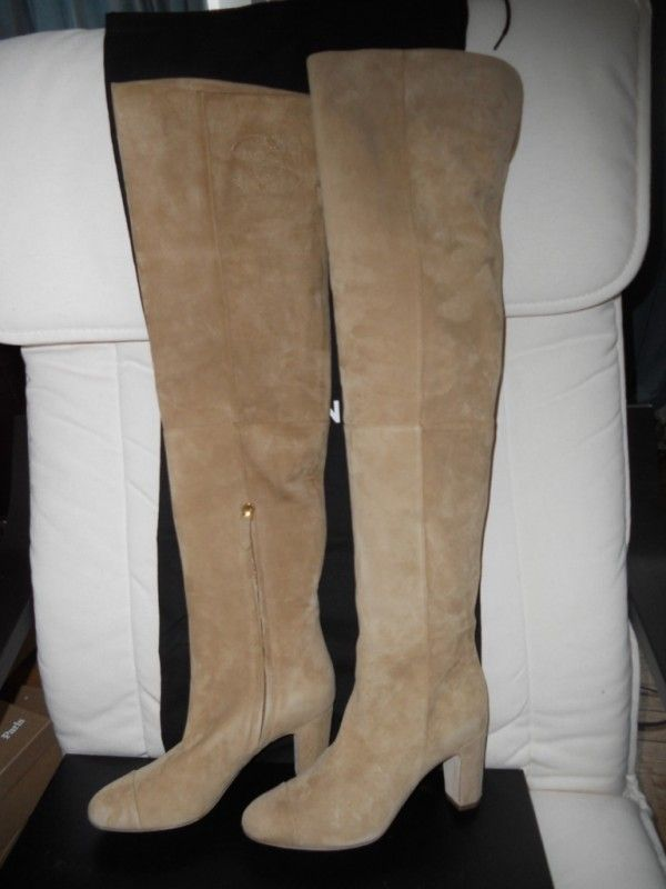 Chanel 11a Thigh High Over the Knee Suede Boots CC Logo Beige ...