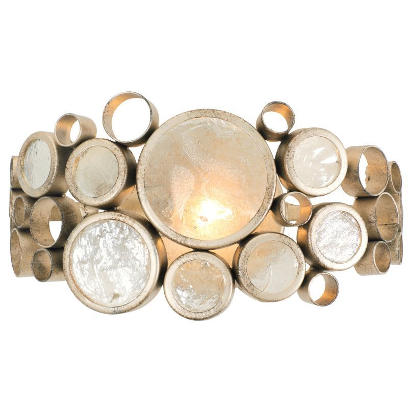 "Varaluz 165B01 Fascination Single Light 14"" Wide Recycled Material Wall Sconce Zen Gold with Recycled Glass Indoor Lighting Bathroom Fixtures Bathroom"