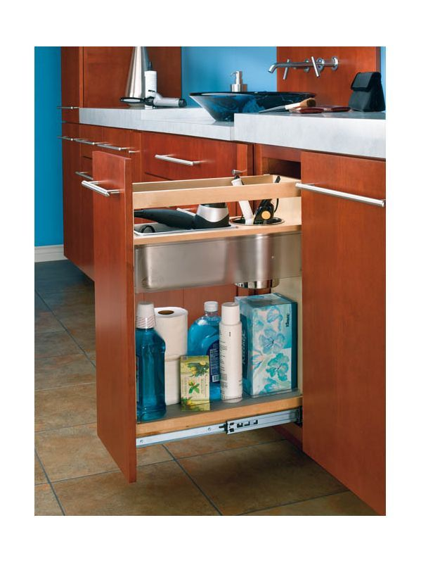Rev A Shelf 445 Vcg25 8 Series 12 Inch Vanity Base Cabinet Pull Out Shelves Natural Wood Organizers Organizer