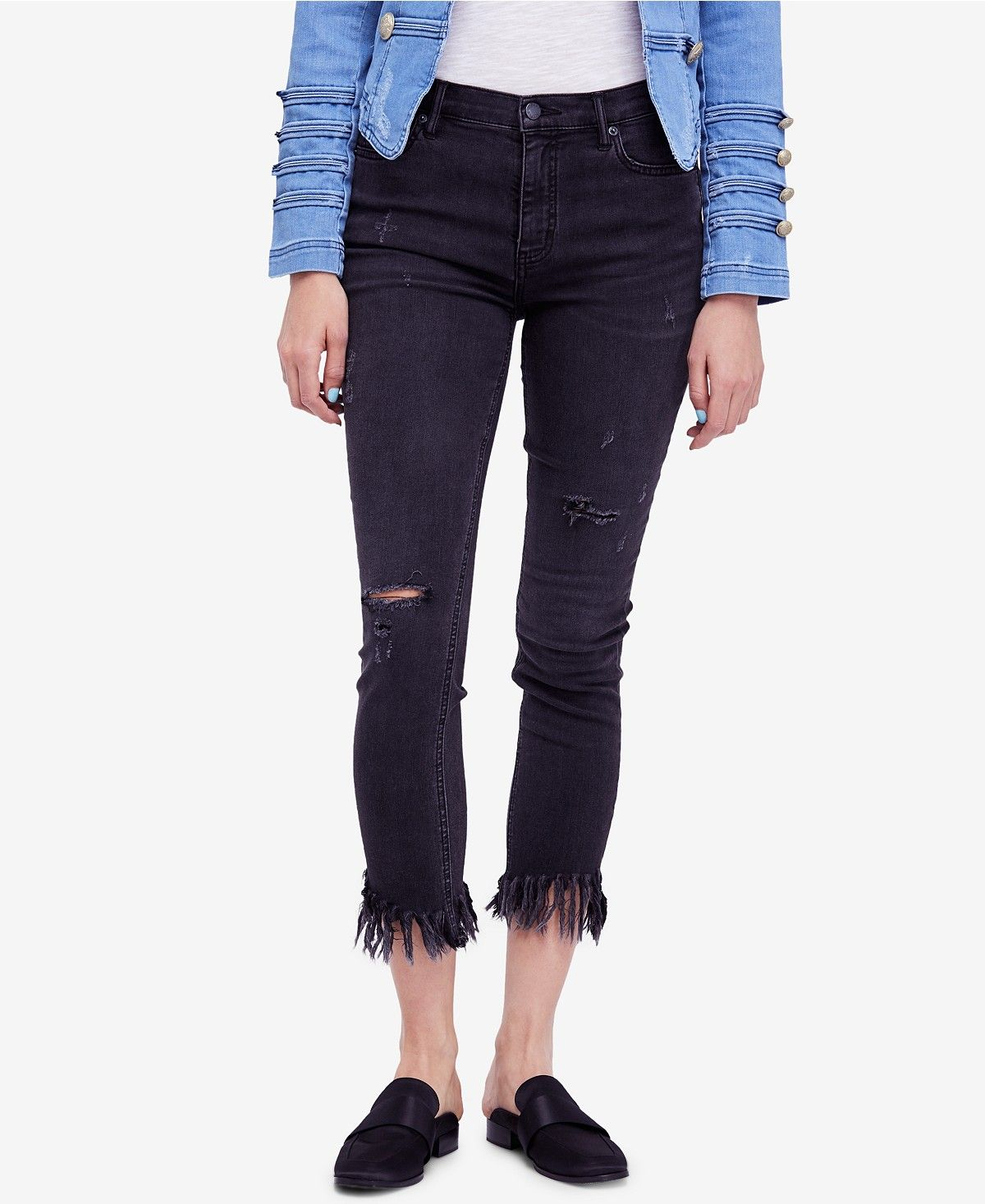 Free People Womens Ripped Skinny Jean