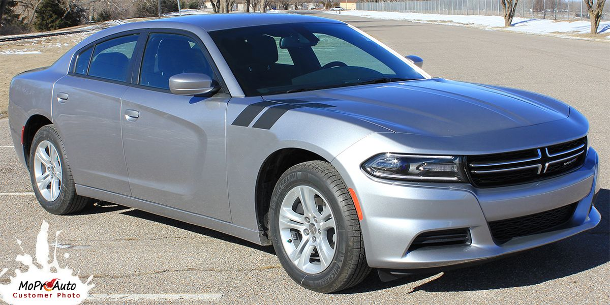 Recharge Double Bar 15 Dodge Charger Hood Decal To Fender Hash Mark Stripes Vinyl Graphic Fits 2015 2021 Dodge Charger Stripe Kit Charger