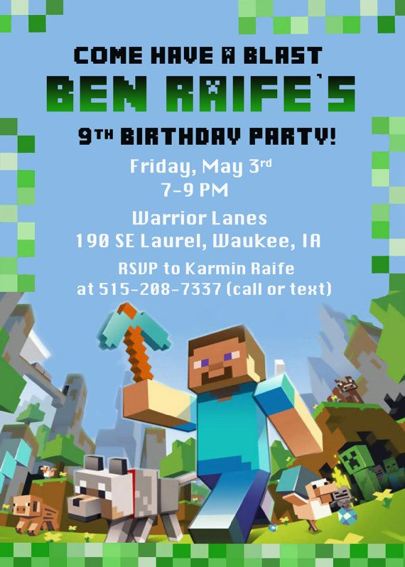 Minecraft Birthday Party Invitation Digital by FunPartyPrints – Mine Craft Invitation Template