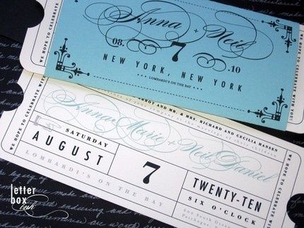 theatre ticket invitations for my theatre themed wedding to