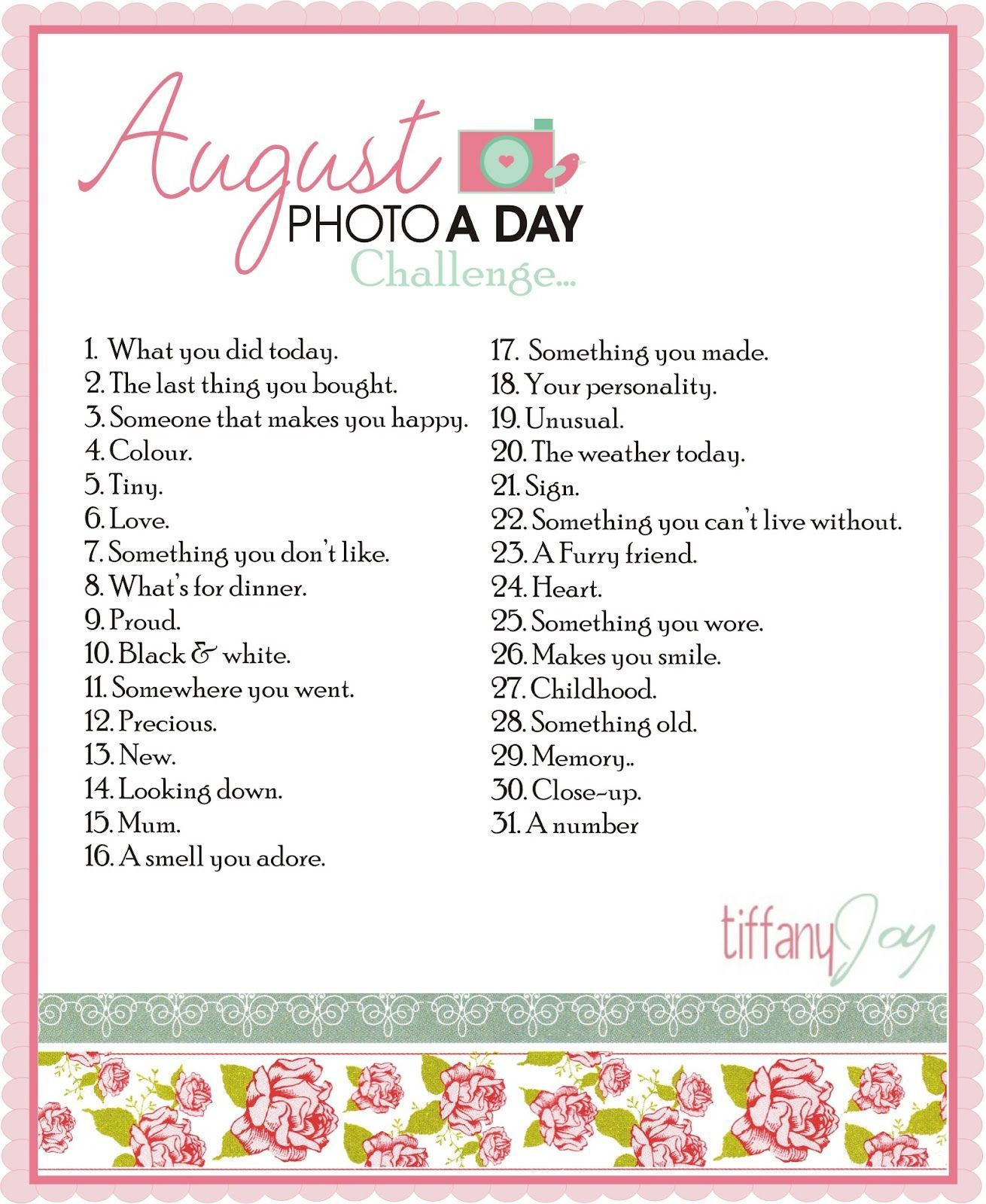 Photo a day Challenge - looks really fun and I've never done a full photo a day challenge