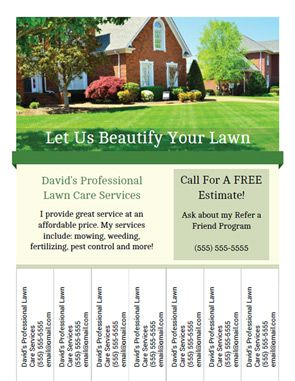 Tear off tab flyer for lawn care or landscaping business lawn printable landscaping and lawn care business flyer templates with tear off tabs saigontimesfo