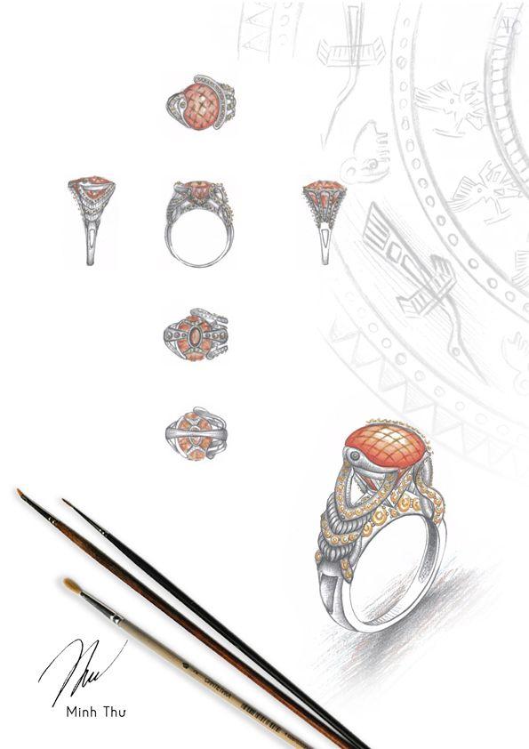 Portfolio jewelry by Tran Nguyen Minh Thu via Behance huangocuyen