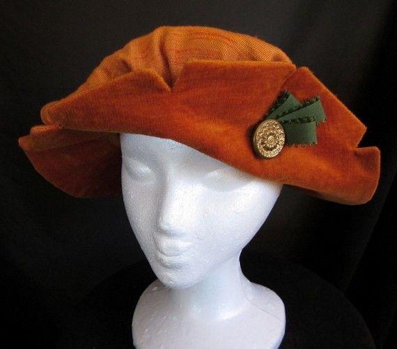 Bag Hat Jaunty Renaissance Style in Orange  size by redthreaded