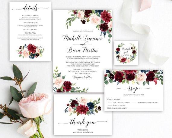 Photo of Hochzeitseinladung, druckbare Einladungsvorlage, voll Edi …