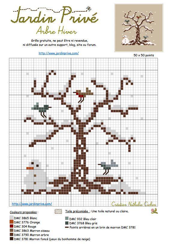 arbre d\'hiver - Jardin Privé (grille gratuite ) | Cross stitch ...