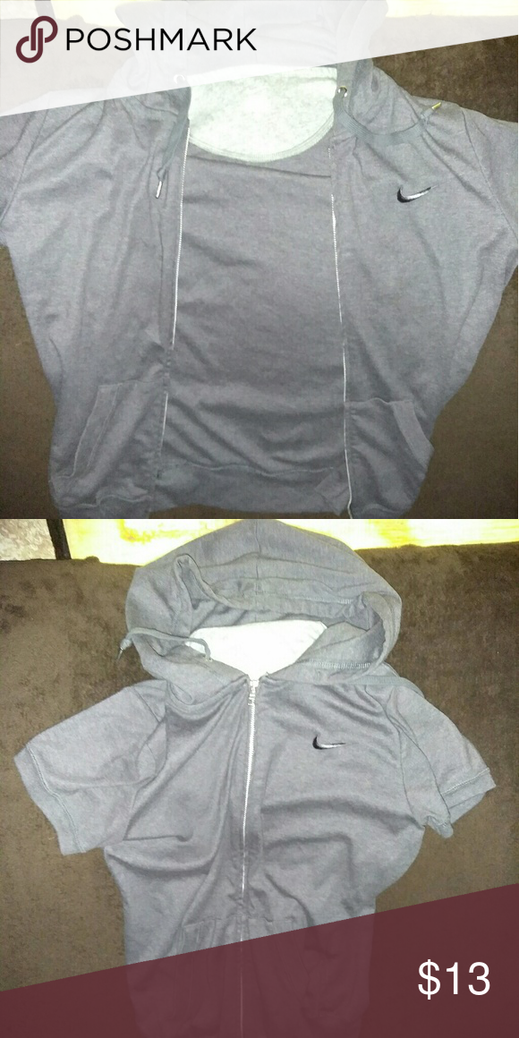 Nike athletic hoodie Gray Nike zip up hoodie short sleeve very soft fabric in perfect condition. Size small unisex #Poshlife Nike Sweaters