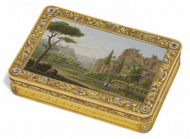 A FRENCH VARI-GOLD SNUFF-BOX SET WITH A ROMAN MICROMOSAIC PLAQUE <br />BY JOSEPH-FRANCOIS MARCILLAC (FL. 1809 - AFTER 1814), MARKED WITH THE POST-REVOLUTIONARY UNOFFICIAL FRENCH STANDARD MARK FOR 18 CARAT GOLD, THE MICROMOSAIC SIGNED WITH INITIALS A.D. OR A.P., ROME, CIRCA 1800/1820<br />rectangular box with rounded corners, the cover inset with a micromosaic plaque of a classical landscape within a band of applied three-colour gold and platinum foliage and flowers<br />3½ in. (87 mm.) wide…