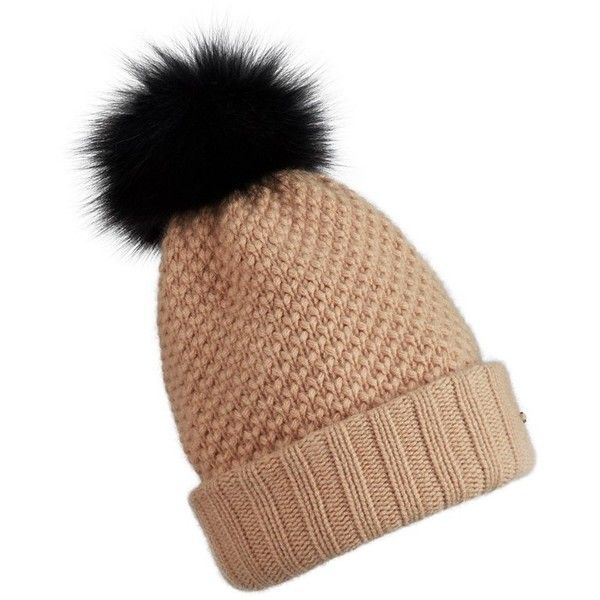 409227bfb3e Burberry Fur Pom-Pom Wool Cashmere Beanie ( 450) ❤ liked on Polyvore  featuring accessories
