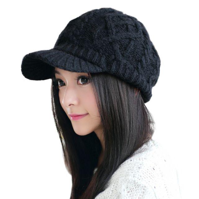 cb01599c197c08 SIGGI Women Wool Knitted Newsboy Cap Beanie Hat Visor Cabbie Duckbill  Autumn Winter Girl 68294 #