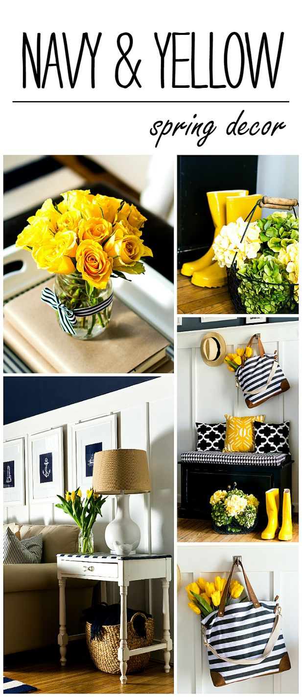 spring decor ideas in navy and yellow yellow kitchen decor yellow home decor navy home decor on kitchen decor navy id=93206
