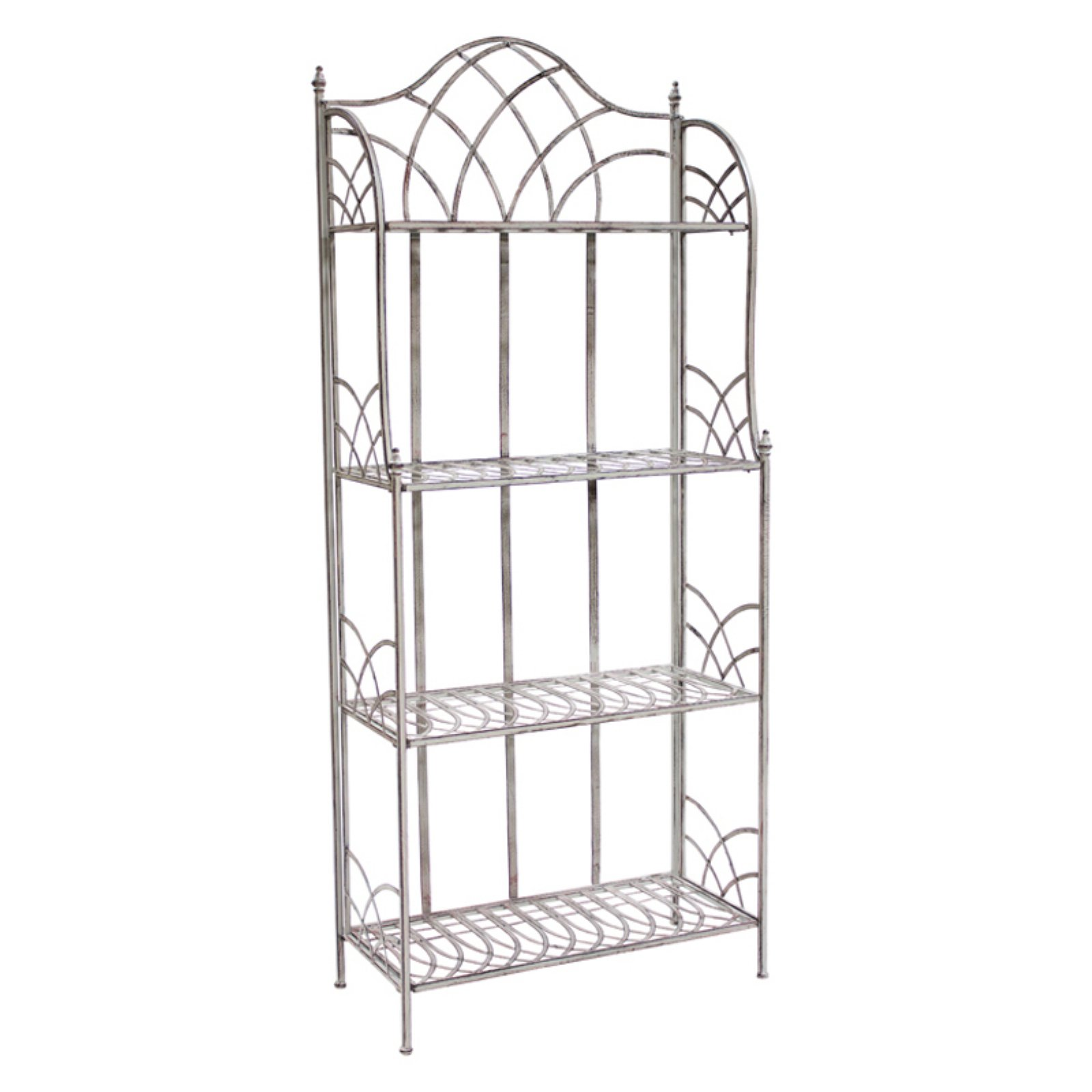 Melrose International 70526 Four Tier Outdoor Shelf Iron Shelf Outdoor Shelves Metal Shelving Units