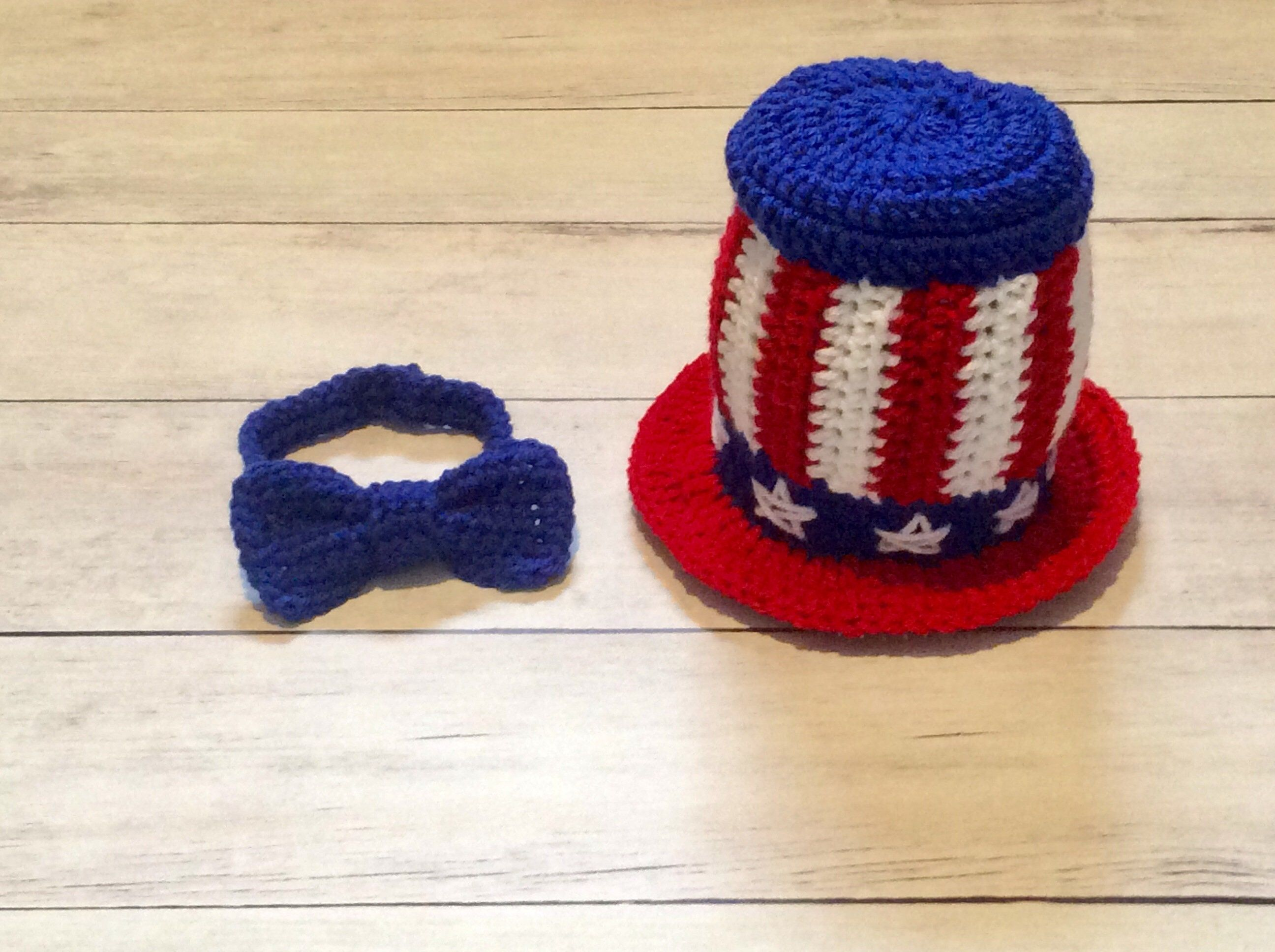 Crochet Uncle Sam Photography Prop/Newborn Photo Prop/USA/America/Infant Halloween Costume/Cake Smash Props/Patriotic Hat and Bow Tie