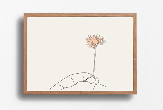 Hand Print Flower Line Art Illustration Art Digital Prints