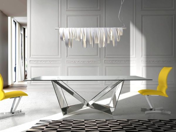 Porto Lujo Modern Rectangular Glass Dining Table With Stainless