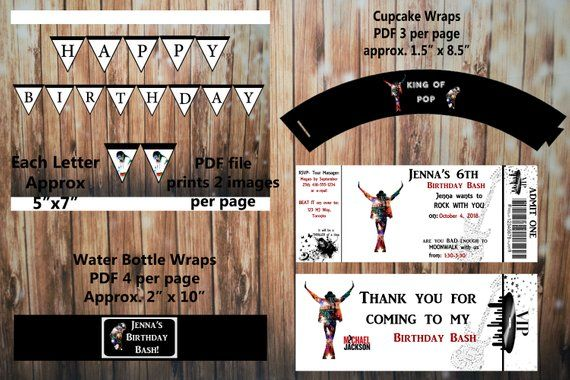 Description Printable Michael Jackson Birthday Kit Invitation And Thank You Card Water Bottle Cupcake Wrap Banner This Product Listing Is For A