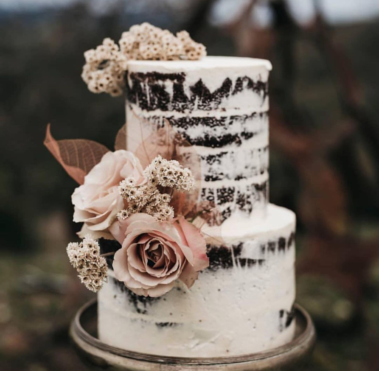 Neat Piped Edge Naked Wedding Cake & Cupcakes - Cake by