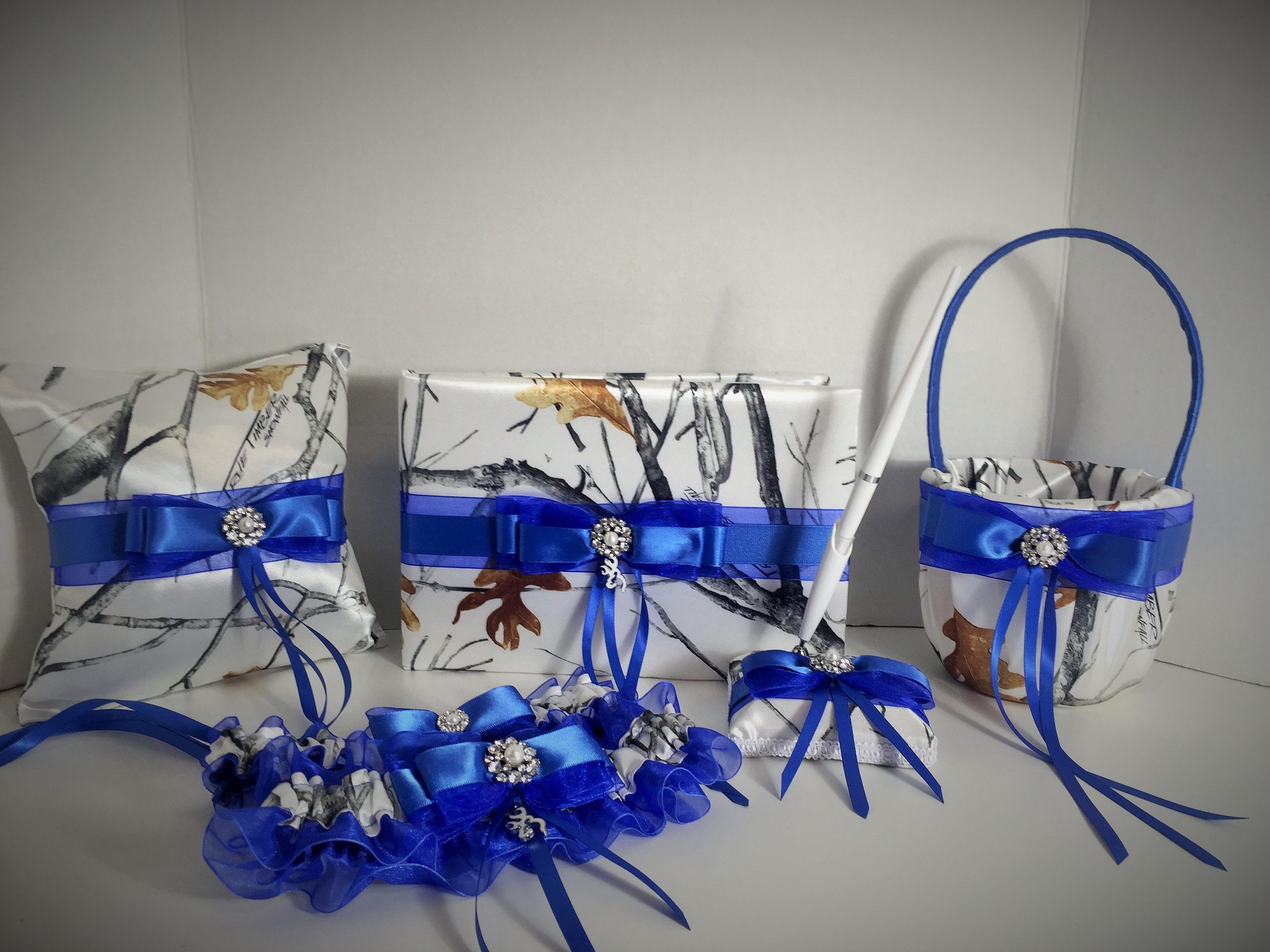 White Snowfall Camo With Royal Blue Wedding Set Camo Wedding