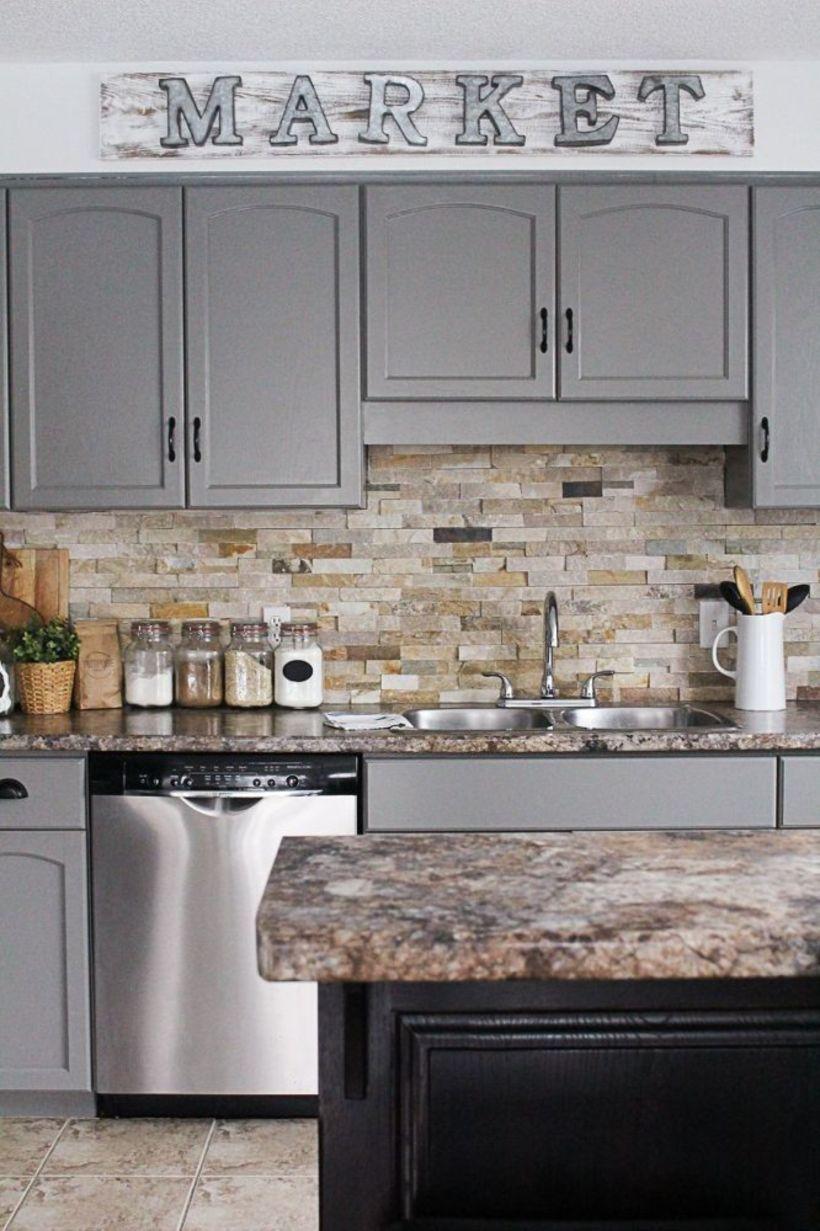 nice 57 Stunning Kitchen Backsplash Ideas Gray Cabinets   Kitchen ...