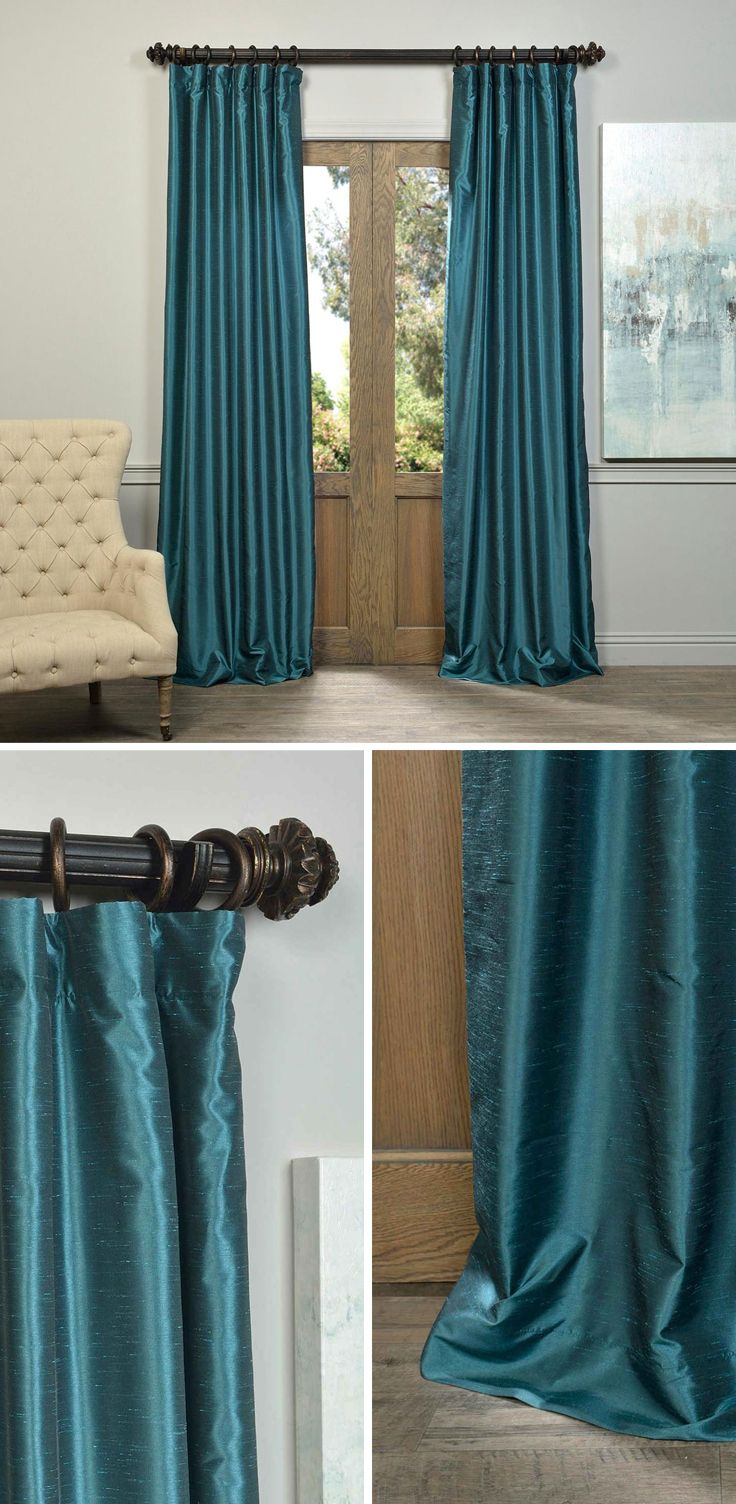 slight half curtains textured drapes sheen faux vintage pin dupioni peacock a the finest silk our have price mimics and that