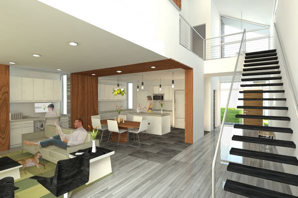 house plans with loft design perspective presentation