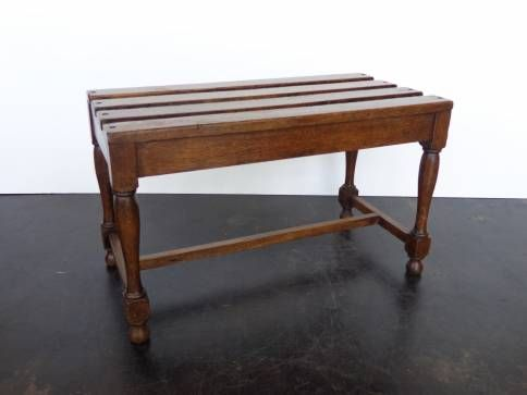 Antique English Oak Luggage Rack Four Slate Oak Top With