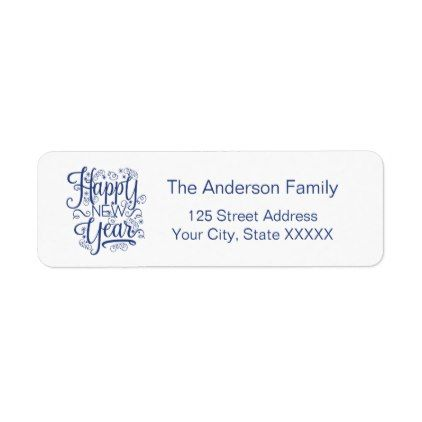 happy new year simple return address label holiday card diy personalize design template cyo