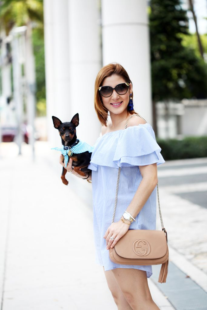 a48087eadea Blame it on Mei Miami Fashion Blogger 2016 Spring Outfit Look Off The  Shoulder Dress Stripes Baublebar Cannes Earrings Gucci Soho Crosbody Lace  Up Sandal ...