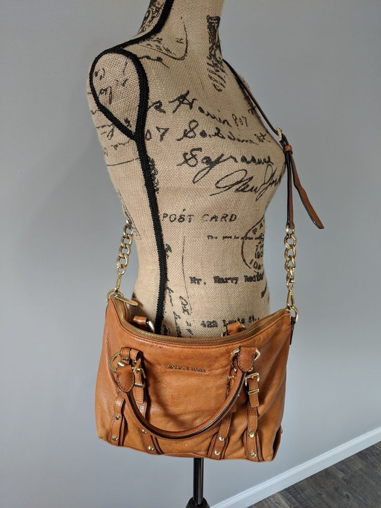dc1c622a0201 fashion Michael Kors Light Brown Leather Crossbody Purse Handbag Gold  Hardware Medium
