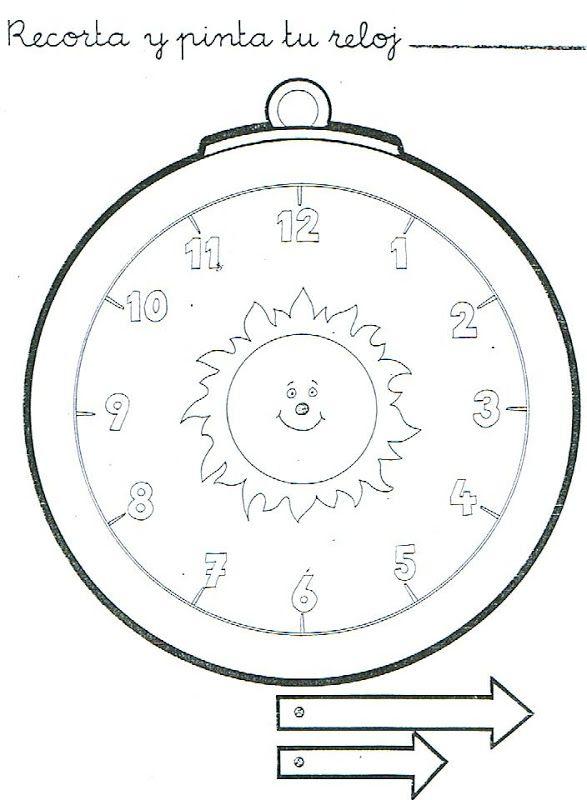 Reloj recortable para aprender las horas para niños | MATEMATICAS ...