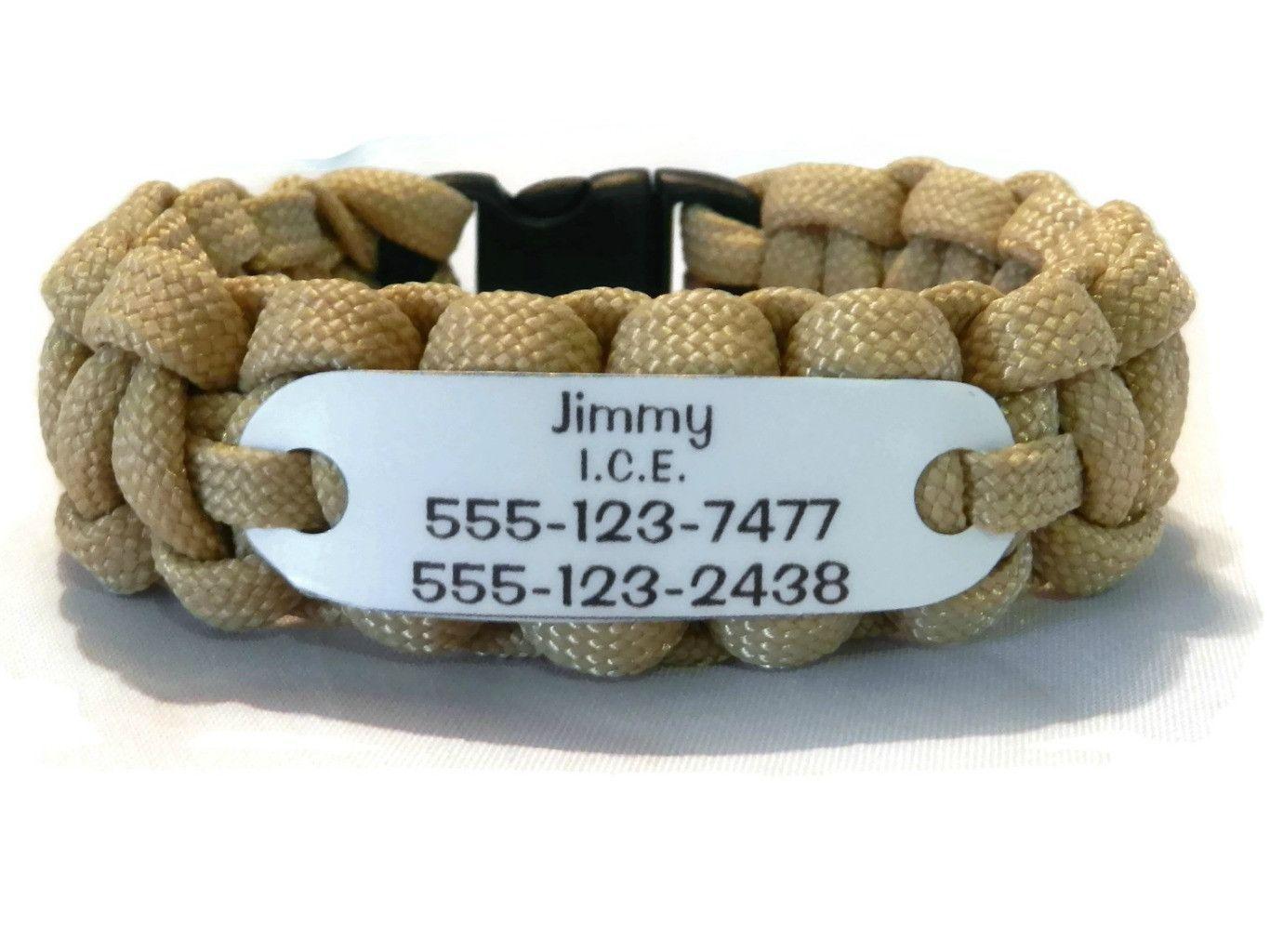 I C E Bracelet Name With 2 Phone Numbers Wristband Lost Kids Id Dementia