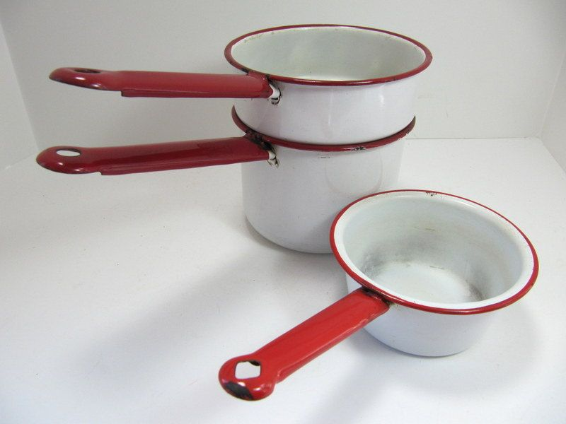 Enamel Double Boiler Pot White Red Trim and Handles and extra small pot. $12.00, via Etsy.