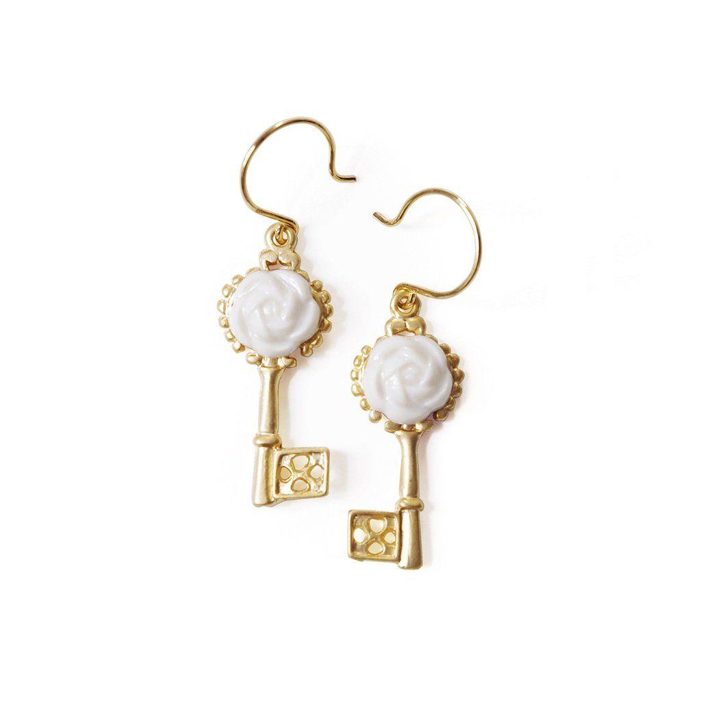 Just in: Porcelain Camellia Golden Key Earrings You will love it! [www.thefuturedream.eu]    #FutureDream