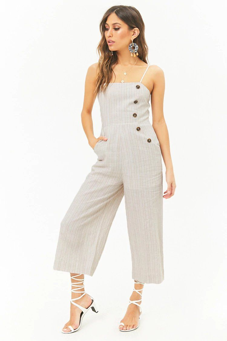 89ac3b78b812 Striped Linen-Blend Button Palazzo Jumpsuit