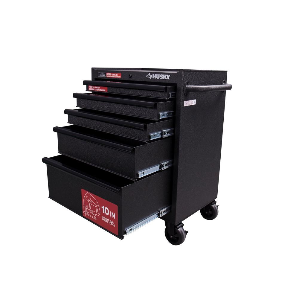 Husky 27 In W 5 Drawer Rolling Cabinet Tool Box Chest In Textured Black Uat H 26051 The Home Depot In 2020 Tool Chest Tool Box Box Chest