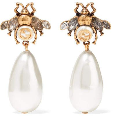 Burnished Gold-tone, Faux Pearl And Crystal Earrings - Brass Gucci
