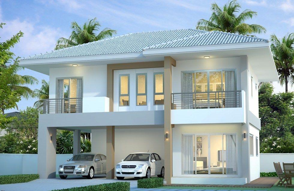House design plan 10.5x7m with 3 bedrooms Casas, Fachada