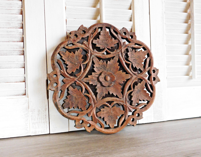Large Sheesham Wood Trivet Hand Carved Bohemian Kitchen Carved