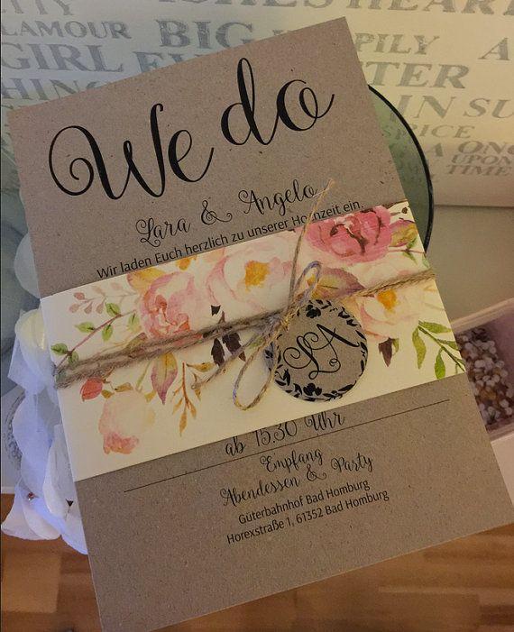 Einladungskarten Zur Hochzeit Im Angesagten Watercolor Flower Look. Auch  Gerne Als Vintage Look Mit Kraft Papier Für Meine Lieben Brautpaare Designt.