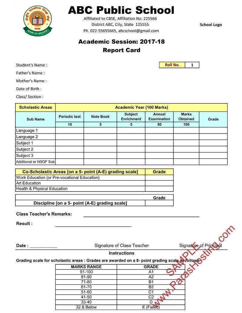 Cbse Report Card Format Ix X Report Card Report Cards [ 1035 x 800 Pixel ]