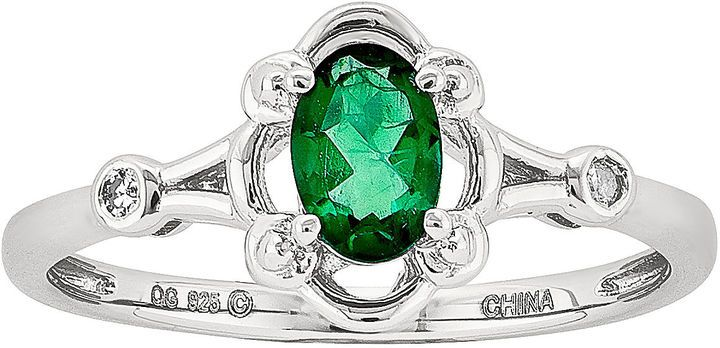 FINE JEWELRY Womens Diamond Accent Lab Created Green Emerald Sterling  Silver Delicate Ring e14afbed5