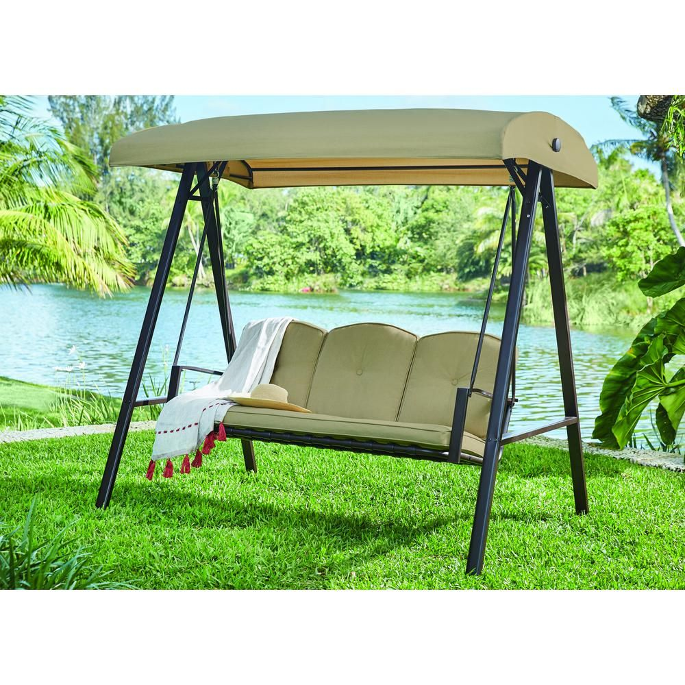 Hampton Bay Cunningham 3 Person Metal Outdoor Swing With Canopy Gss00132d The Home Depot Patio Swing Canopy Outdoor Swing With Canopy Outdoor Patio Swing