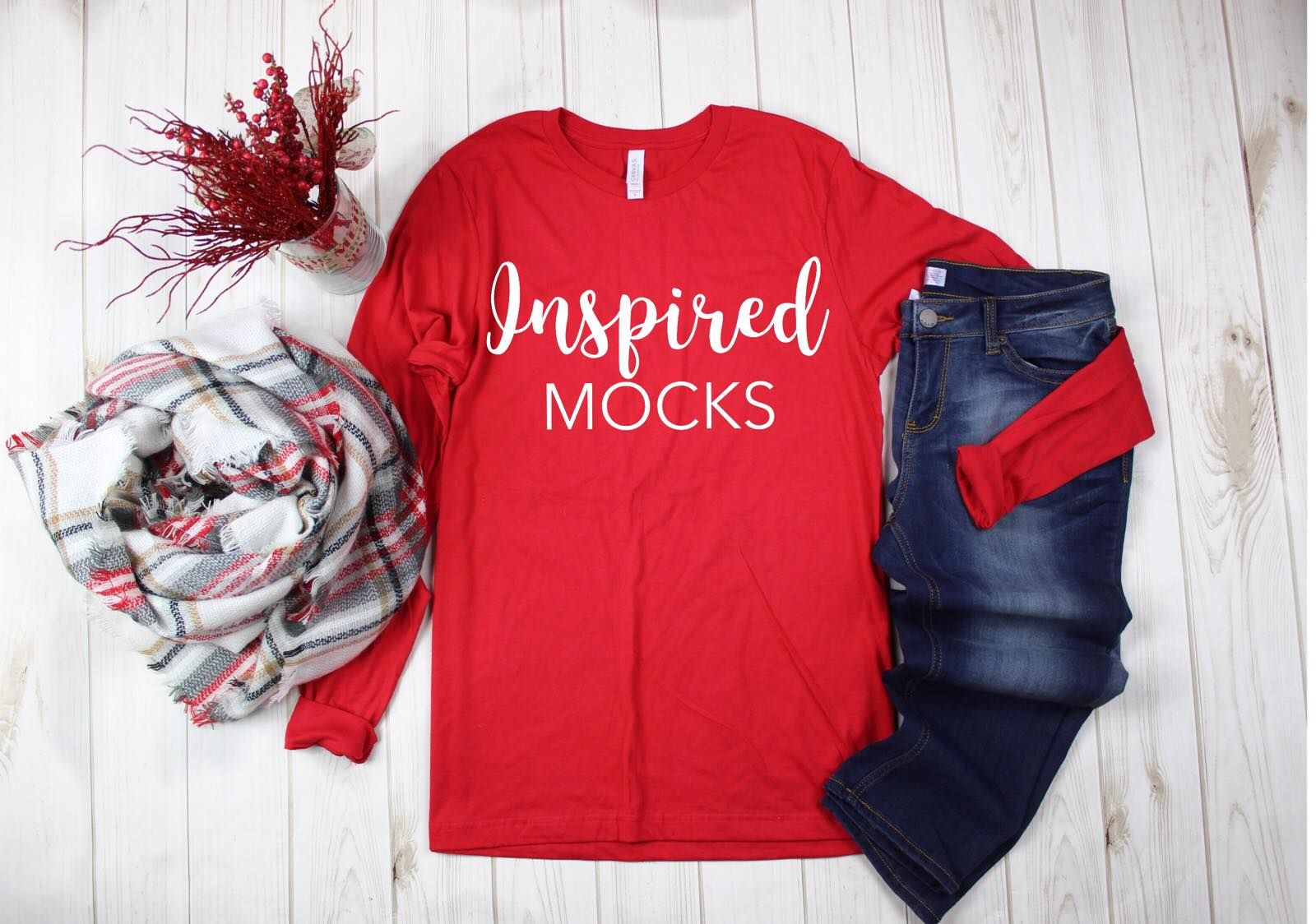 Download Christmas Mockup Bella Canvas 3001 Red Unisex Jersey T Shirt Mockup Christmas Flat Lay Winter Shirt Mockup Tshirt Mockup Bella Canvas