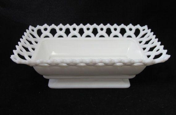 Vintage Lattice Edge Milk Glass Dish $26.00 from TietheKnotVintage on Etsy