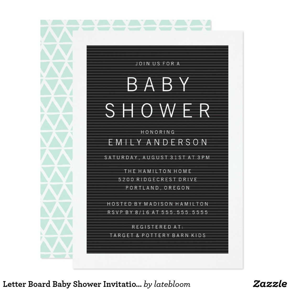 Letter Board Baby Shower Invitations  Mom And Kids Stuffs And